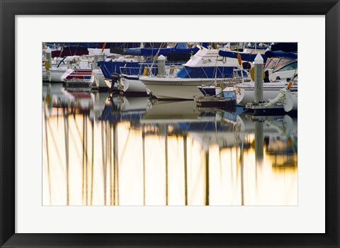 Framed USA, California, Santa Barbara, boats in marina at sunrise Print