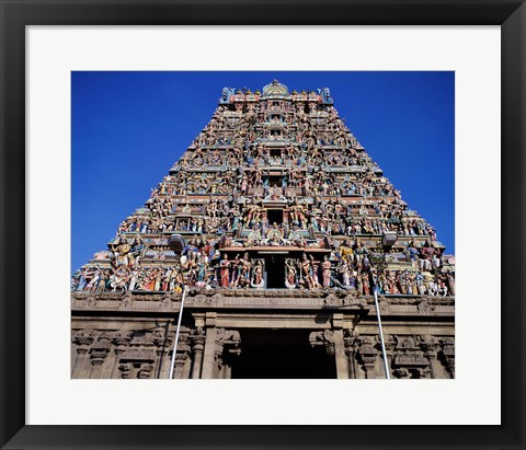 Framed Carving on Sri Meenakshi Hindu Temple, Chennai, Tamil Nadu, India Print