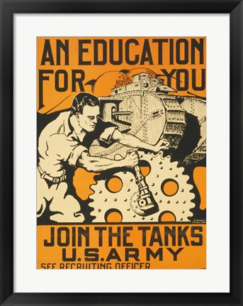 Framed Join the Tanks US Army Print