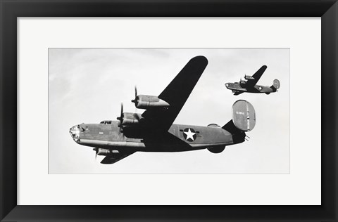 Framed Low angle view of two bomber planes in flight, B-24 Liberator Print
