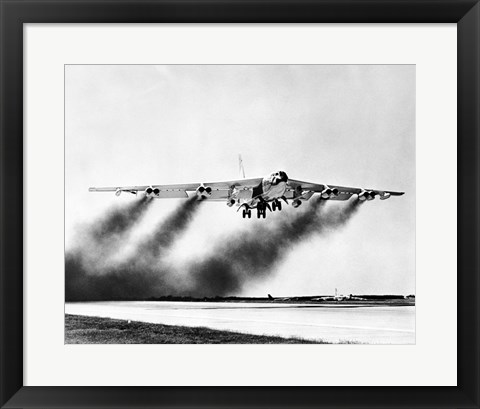 Framed Low angle view of a fighter plane taking off, B-52 Stratofortress Print