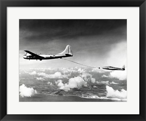 Framed Side profile of a military tanker airplane refueling in flight, B-29 Superfortress, F-84 Thunderjet Print
