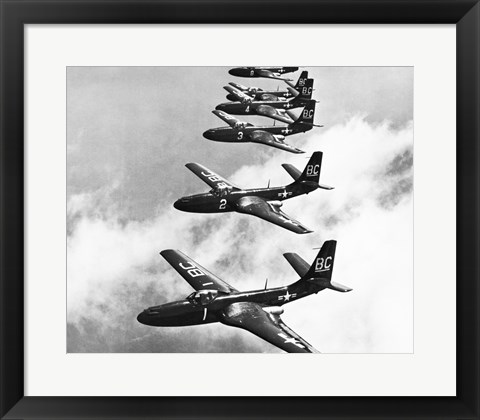 Framed High angle view of fighter planes in flight, Mcdonnell FH-1 Phantom Print
