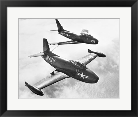 Framed High angle view of two fighter planes in flight Print