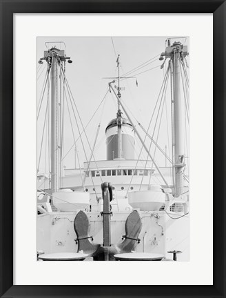 Framed Anchor on deck, passenger ship in the background Print