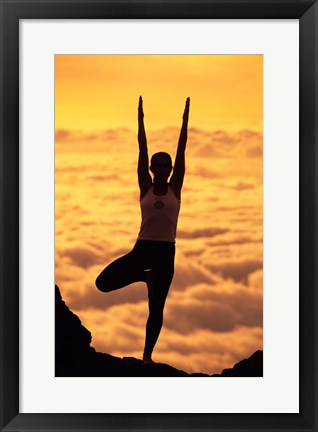 Framed Silhouette of a young woman practicing yoga, Maui, Hawaii Print