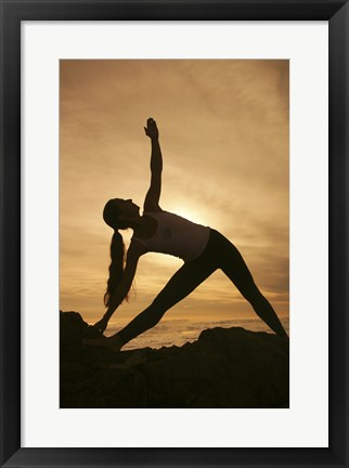 Framed Silhouette of a young woman exercising, Haleakala National Park, Maui, Hawaii, USA Print
