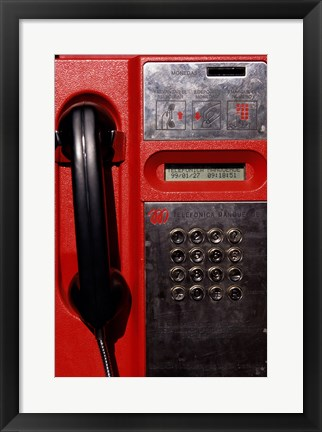 Framed Close-up of a pay phone Print