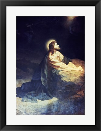 Framed Christ in the Garden of Gethsemane Heinrich Hoffmann (1824-1911 German) Print
