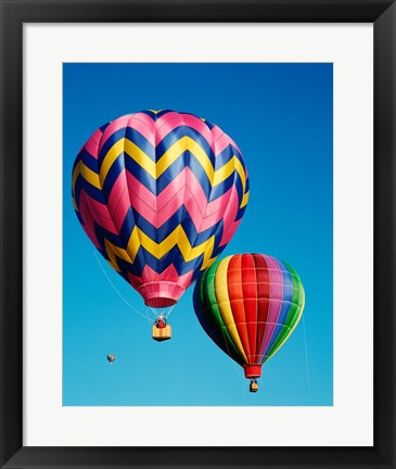 Framed Hot Pink and Navy Blue Air Balloon Floating in the Sky Print