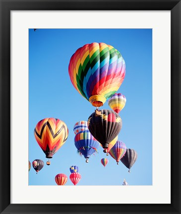 Framed Cluster of Hot Air Balloons Print