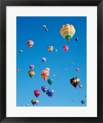 Framed Hot Air Balloons Flying in a Group Print