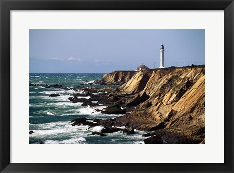 Framed Lighthouse on the coast, Point Arena Lighthouse, Point Arena, California, USA Print
