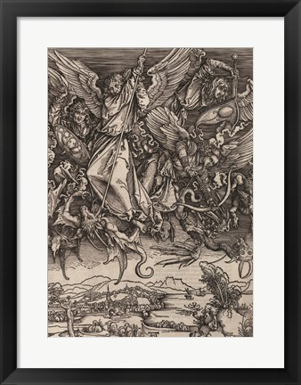 Framed St. Michael Fighting the Dragon by Albrecht Durer, 1498 Print