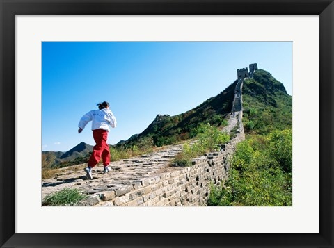 Framed Person running up the Great Wall, Simatai, Beijing, China Print