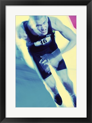 Framed Portrait of a young man running Print