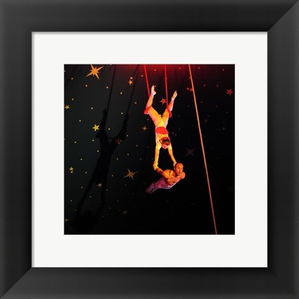 Framed Continental Circus Double Trapeze Act Print