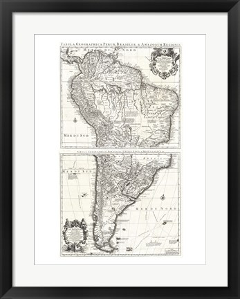 Framed 1730 Covens and Mortier Map of South America Print