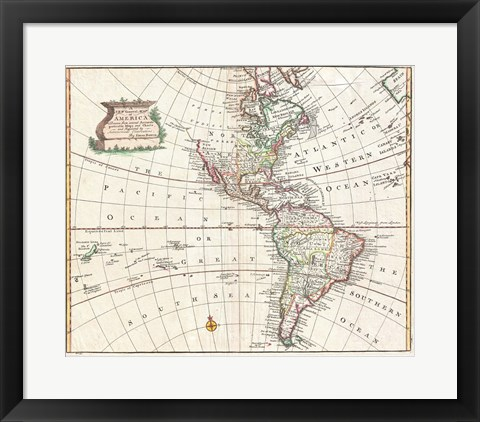Framed 1747 Bowen Map of North America and South America Print