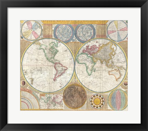 Framed 1794 Samuel Dunn Wall Map of the World in Hemispheres Print