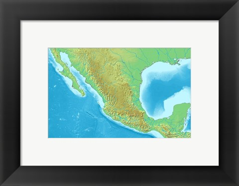Framed Map of Mexico Demis Print