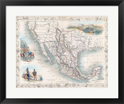 Framed 1851 Tallis Map of Mexico, Texas, and California Print