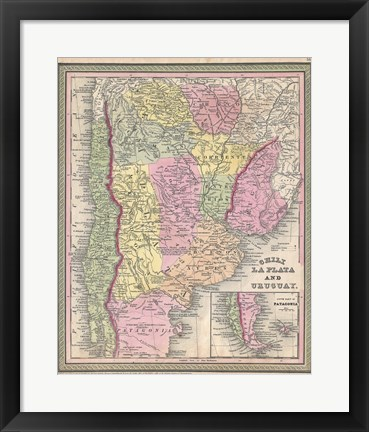 Framed 1853 Mitchell Map of Argentina Print
