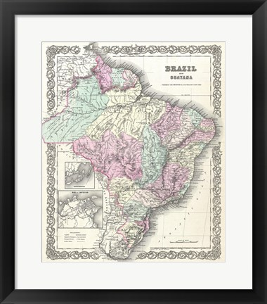 Framed 1855 Colton Map of Brazil And Guyana Print
