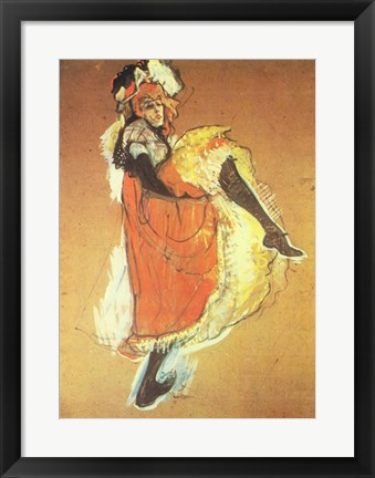 Framed Henri de Toulouse-Lautrec Can-Can Jane Avril Print