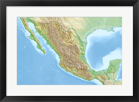 Framed Mexico Relief Location Map Print