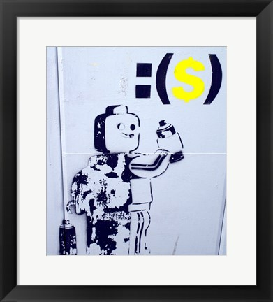 Framed Leggo Man Graffiti - Israel Print