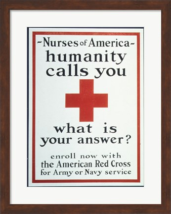 Framed Nurses of America Humanity Calls You Enroll now with the Red Cross Print