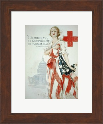 Framed Harrison Fisher WWI American Red Cross Poster Print