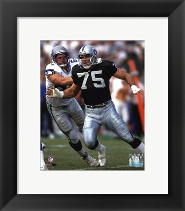 Framed Howie Long 1992 Action Print