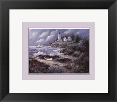 Framed Lighthouse and Boat Print