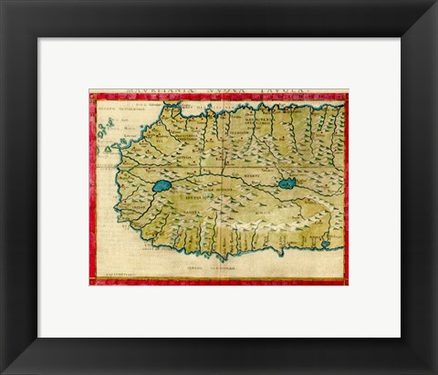 Framed 1561 Map of West Africa by Girolamo Ruscelli Print