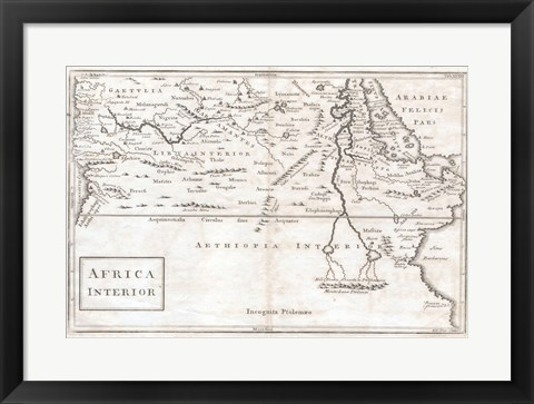 Framed 1730 Toms Map of Central Africa Print