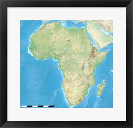 Framed Africa Relief Location Map Print