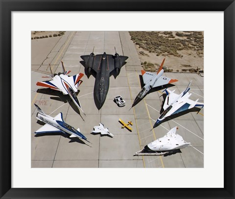 Framed Collection of Military Aircraft Print