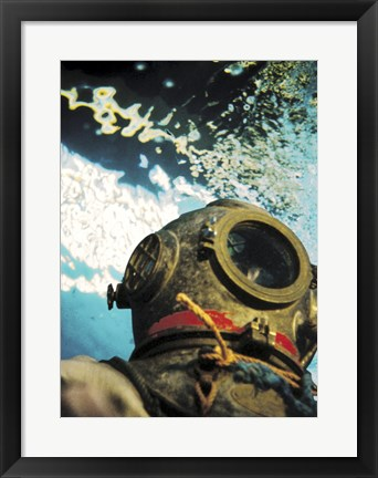 Framed Close-up of a divers helmet under water Print