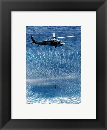 Framed US Navy Search and Rescue Diver Print