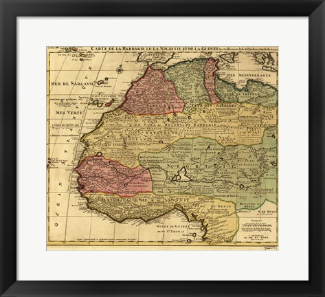 Framed Map of Africa 1742 Print