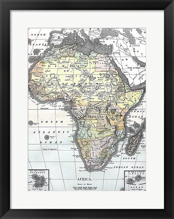 Framed Map of Africa from Encyclopaedia Britannica 1890 Print