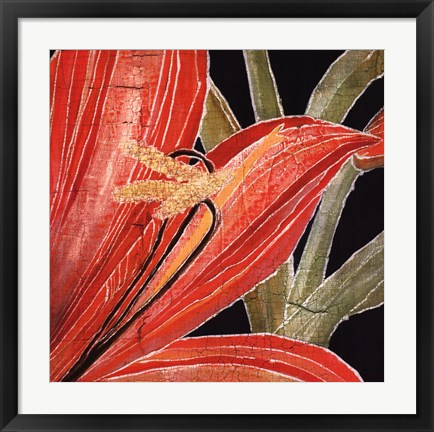Framed Red Amaryllis With Stem Print