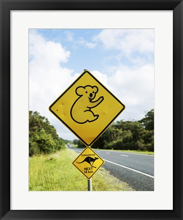 Framed Close-up of animal crossing sign on a roadside, Australia Print