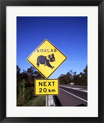 Framed Close-up of a crossing sign on the road side, Australia Print