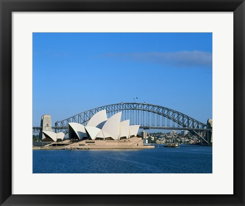 Framed Opera house on the waterfront, Sydney Opera House, Sydney Harbor Bridge, Sydney, Australia Print