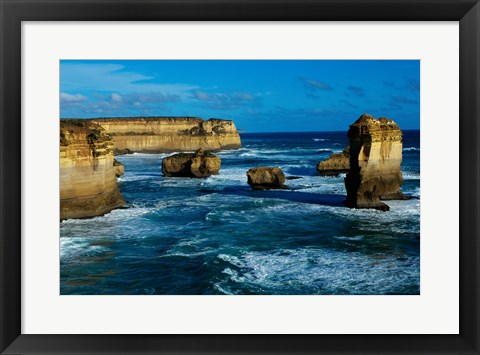 Framed High angle view of rocks in the sea, Twelve Apostles, Port Campbell National Park, Victoria, Australia Print