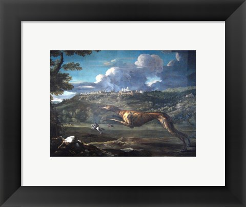 Framed Pace, Michelangelo, Greyhound, rabbit, and the Castle of Ariccia Print