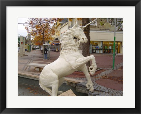 Framed Unicorn Statue Print